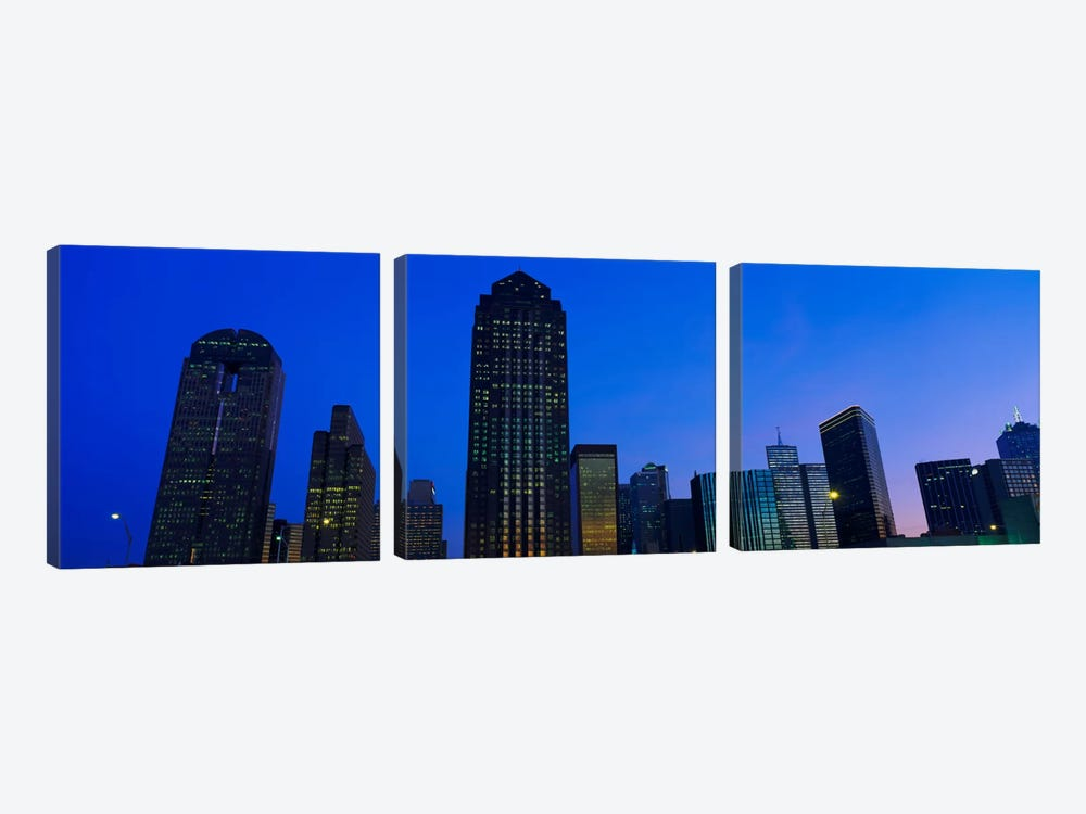 Low angle view of buildings at duskDallas, Texas, USA by Panoramic Images 3-piece Canvas Wall Art