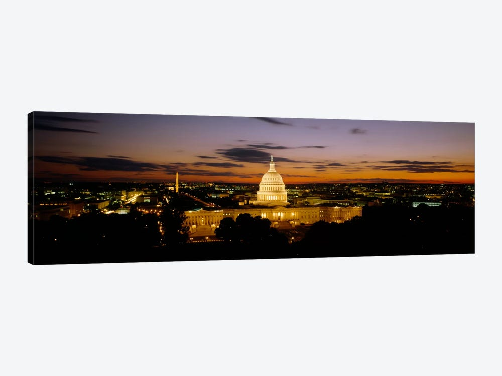 Government building lit up at nightUS Capitol Building, Washington DC, USA by Panoramic Images 1-piece Art Print