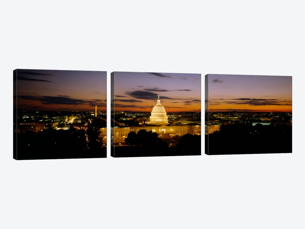 Government building lit up at nightUS Capitol Building, Washington DC, USA by Panoramic Images 3-piece Canvas Art Print