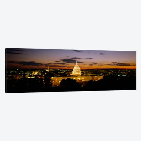 Government building lit up at nightUS Capitol Building, Washington DC, USA Canvas Print #PIM1848} by Panoramic Images Canvas Art Print