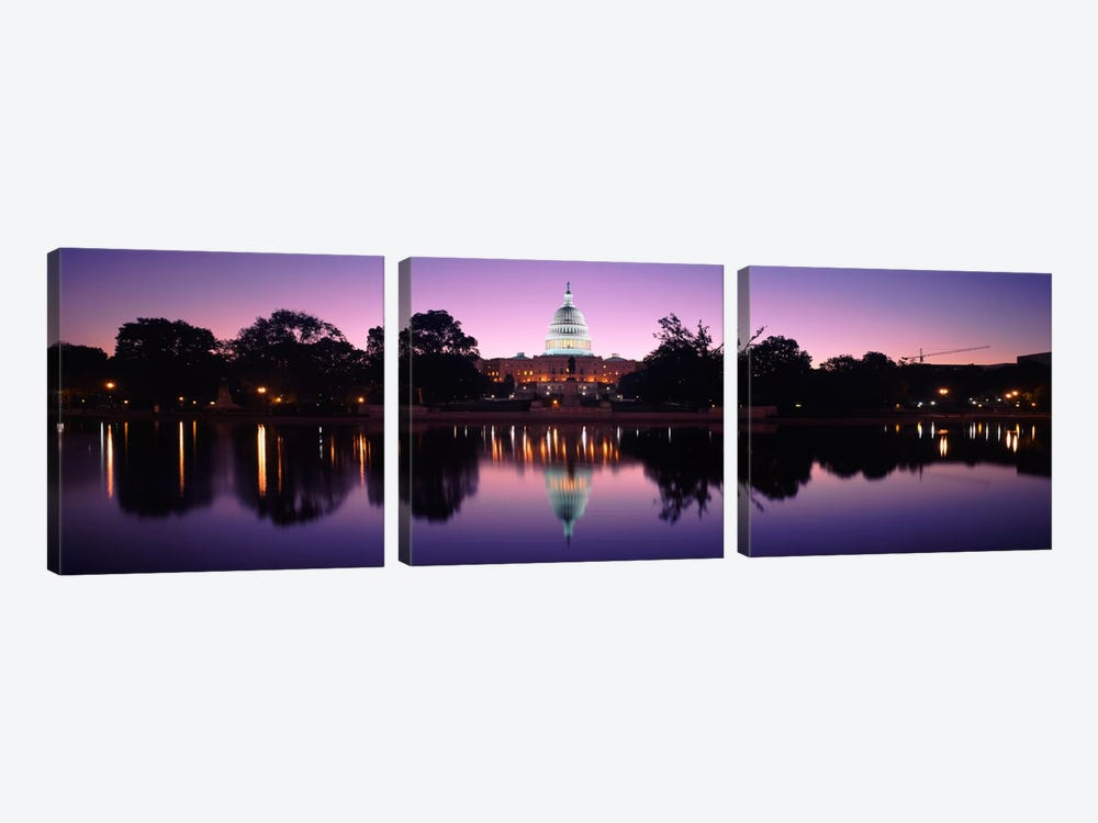 Reflection of a government building in a lakeCapitol Building, Washington DC, USA by Panoramic Images 3-piece Canvas Art