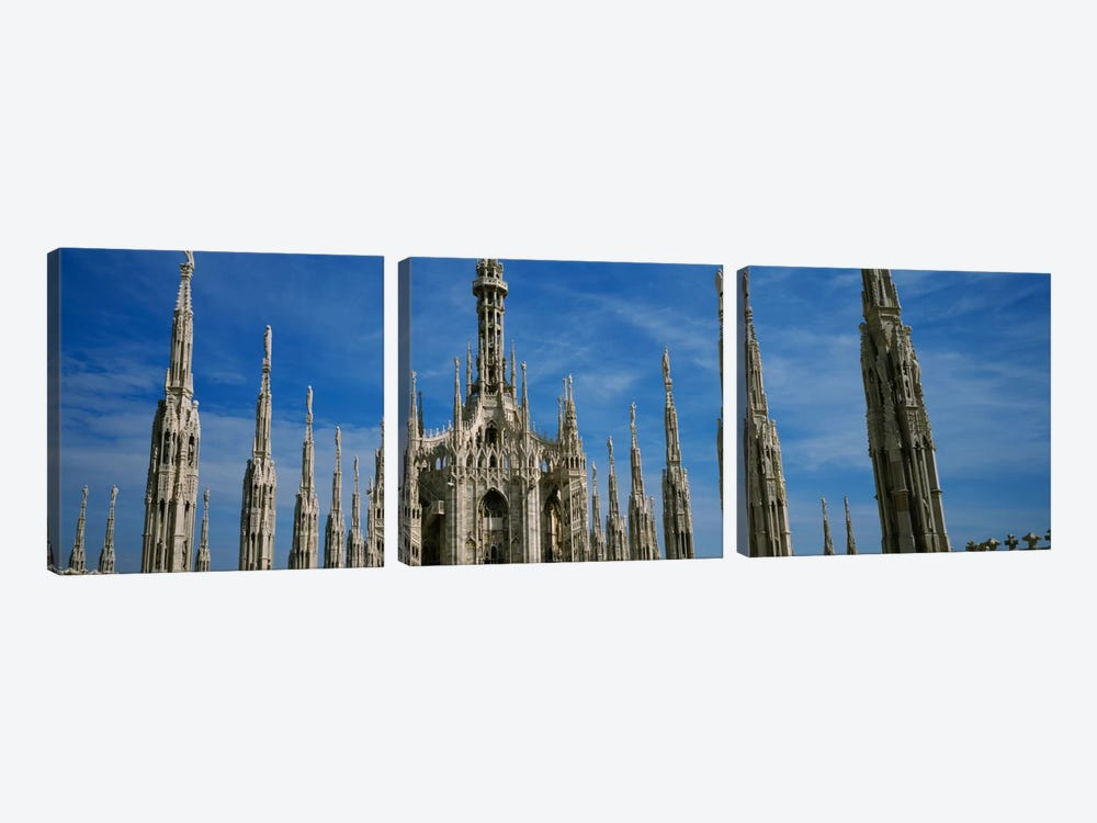 Facade of a cathedral, Piazza Del Duomo, Milan, Italy by Panoramic Images 3-piece Canvas Print