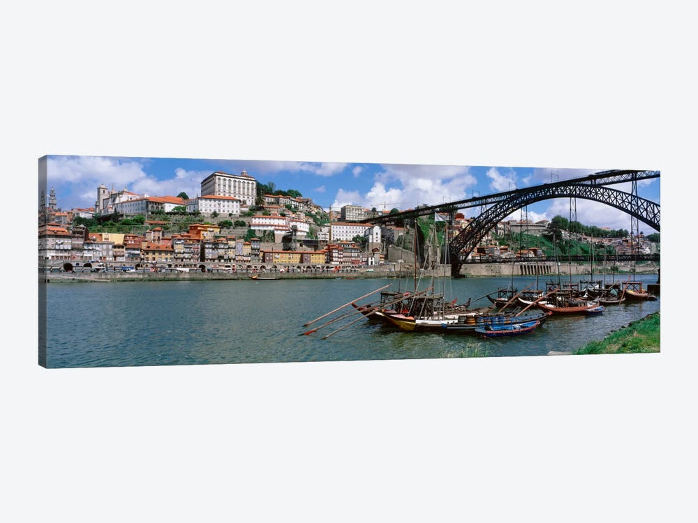Historic Centre Of Oporto & Dom Luis I Bridge, Norte Region, Portugal by Panoramic Images 1-piece Canvas Wall Art