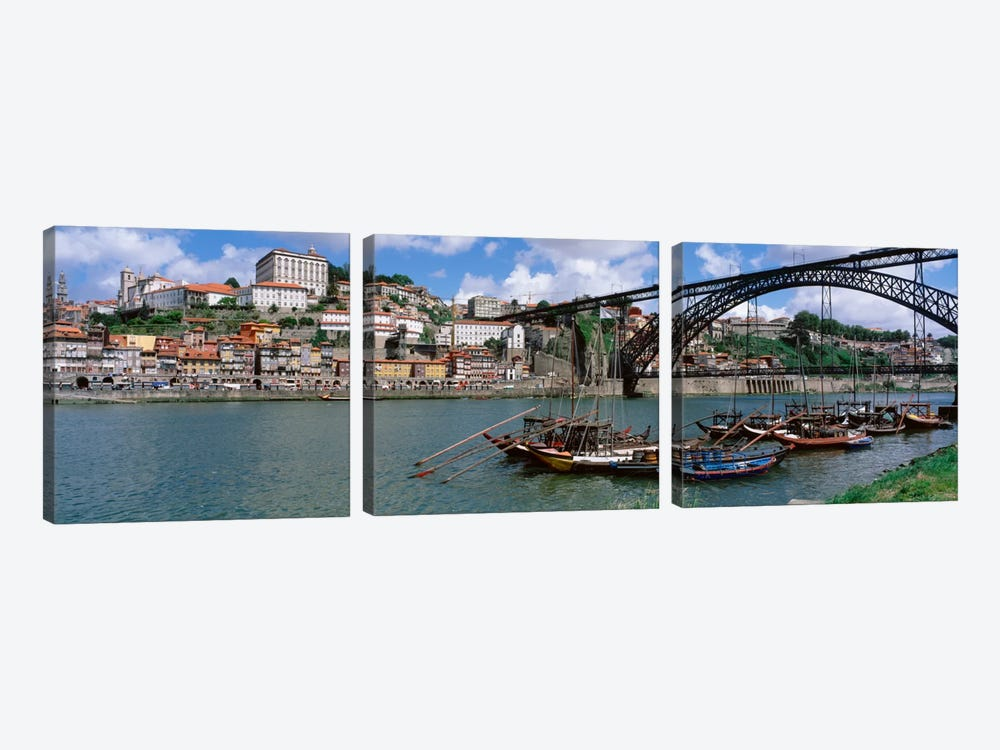 Historic Centre Of Oporto & Dom Luis I Bridge, Norte Region, Portugal by Panoramic Images 3-piece Canvas Art