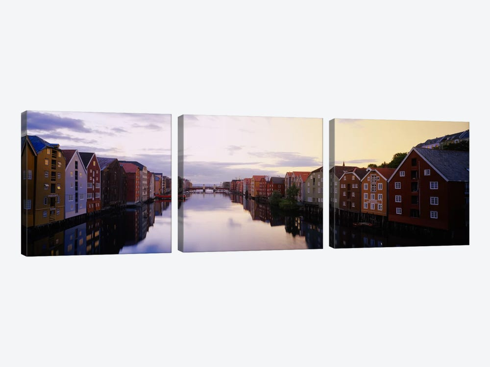 Riverfront Architecture, Trondheim, Sor-Trondelag, Norway by Panoramic Images 3-piece Canvas Wall Art