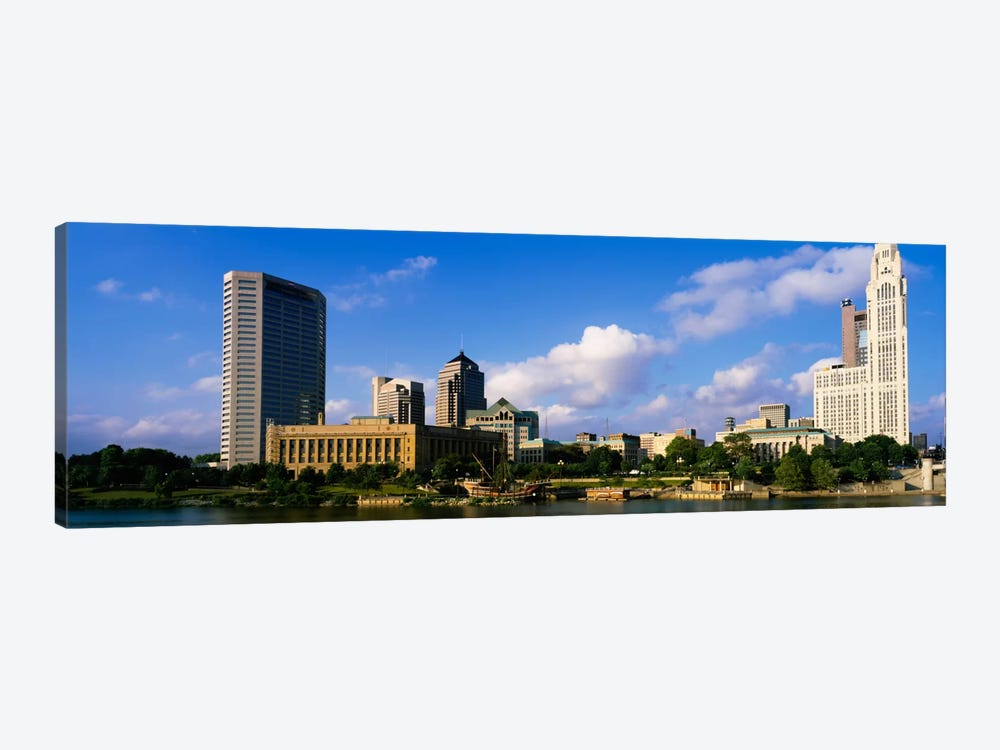 Buildings on the banks of a riverScioto River, Columbus, Ohio, USA by Panoramic Images 1-piece Canvas Print
