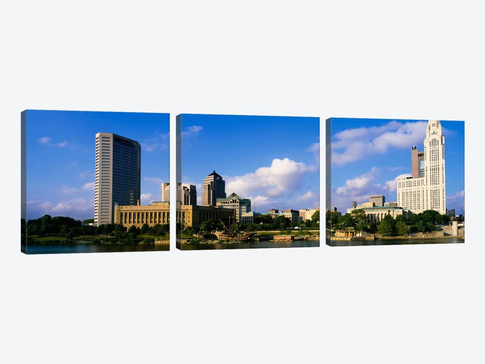 Buildings on the banks of a riverScioto River, Columbus, Ohio, USA by Panoramic Images 3-piece Canvas Print
