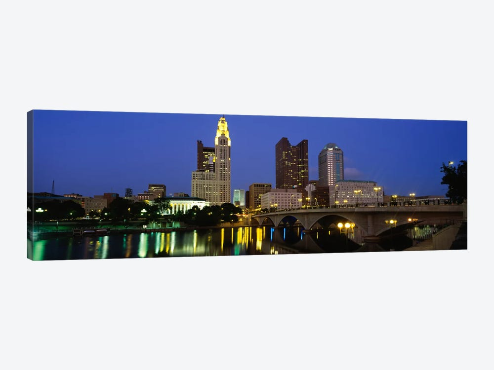 Buildings lit up at nightColumbus, Scioto River, Ohio, USA by Panoramic Images 1-piece Art Print