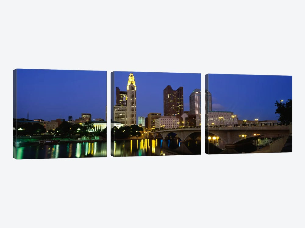 Buildings lit up at nightColumbus, Scioto River, Ohio, USA by Panoramic Images 3-piece Canvas Art Print