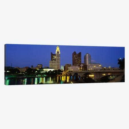 Buildings lit up at nightColumbus, Scioto River, Ohio, USA Canvas Print #PIM1855} by Panoramic Images Canvas Print