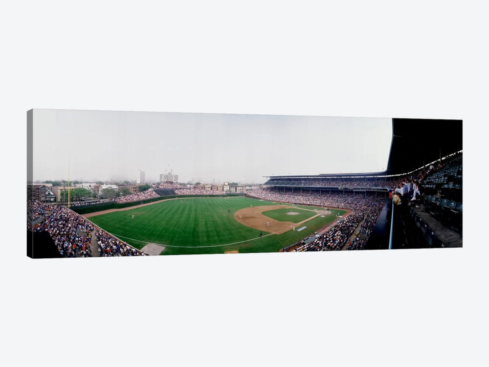 Spectators watching a baseball mach in a stadium, Wrigley Field, Chicago, Cook County, Illinois, USA by Panoramic Images 1-piece Art Print