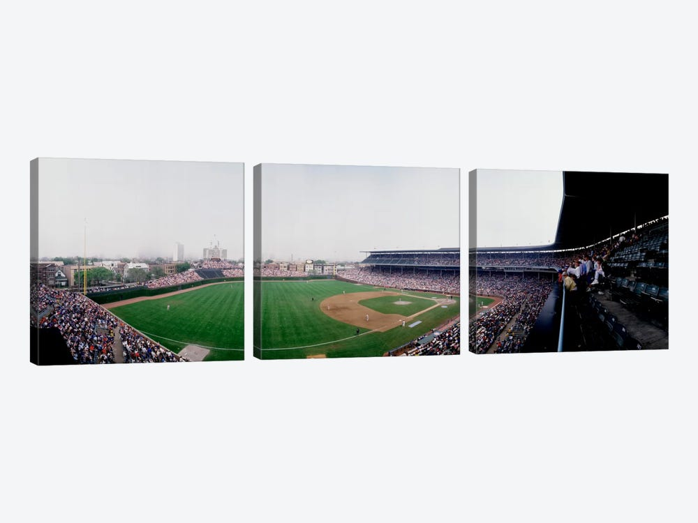 Spectators watching a baseball mach in a stadium, Wrigley Field, Chicago, Cook County, Illinois, USA by Panoramic Images 3-piece Art Print