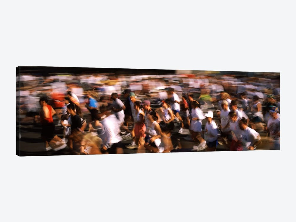 Crowd participating in a marathon race, Bay Bridge, San Francisco, San Francisco County, California, USA by Panoramic Images 1-piece Canvas Print