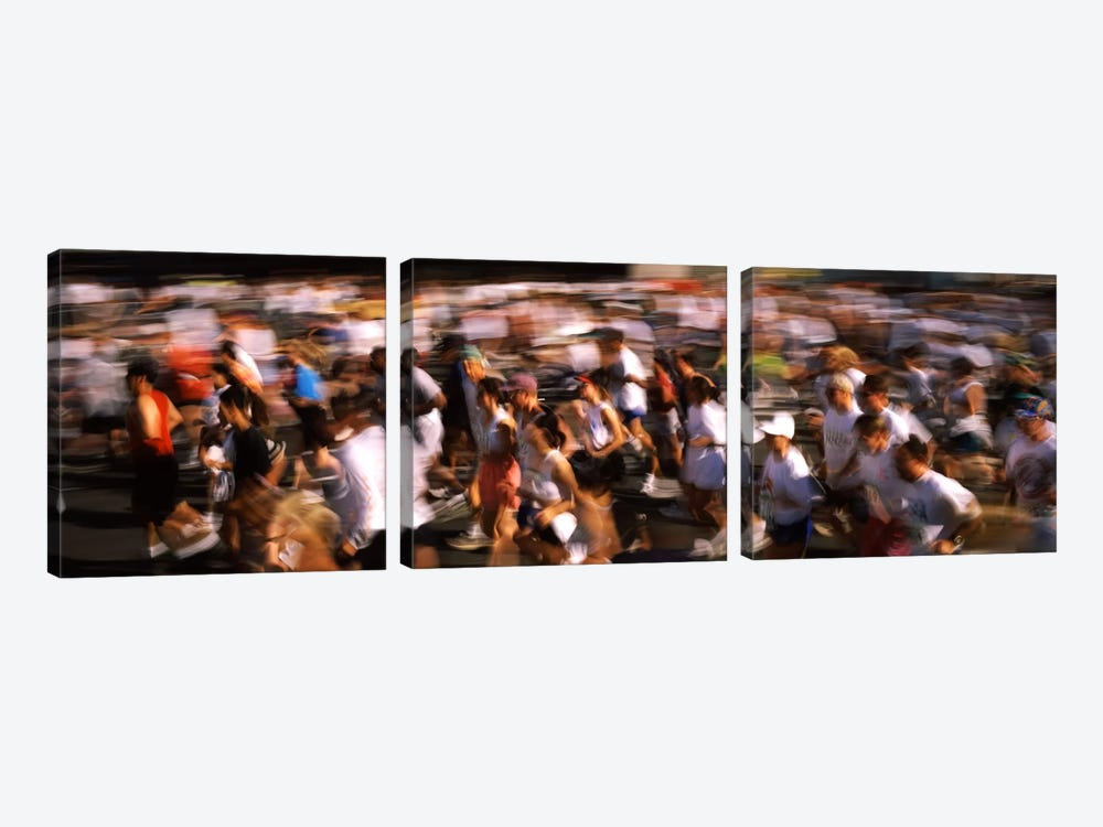 Crowd participating in a marathon race, Bay Bridge, San Francisco, San Francisco County, California, USA by Panoramic Images 3-piece Canvas Print