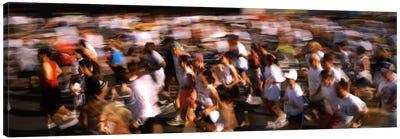 Crowd participating in a marathon race, Bay Bridge, San Francisco, San Francisco County, California, USA Canvas Art Print