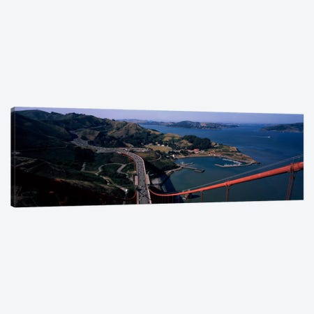 High angle view of a suspension bridge, Golden Gate Bridge, San Francisco, California, USA Canvas Print #PIM1866} by Panoramic Images Canvas Wall Art