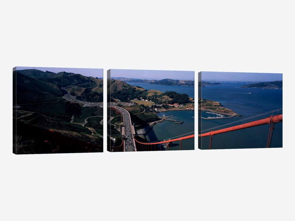 High angle view of a suspension bridge, Golden Gate Bridge, San Francisco, California, USA by Panoramic Images 3-piece Art Print
