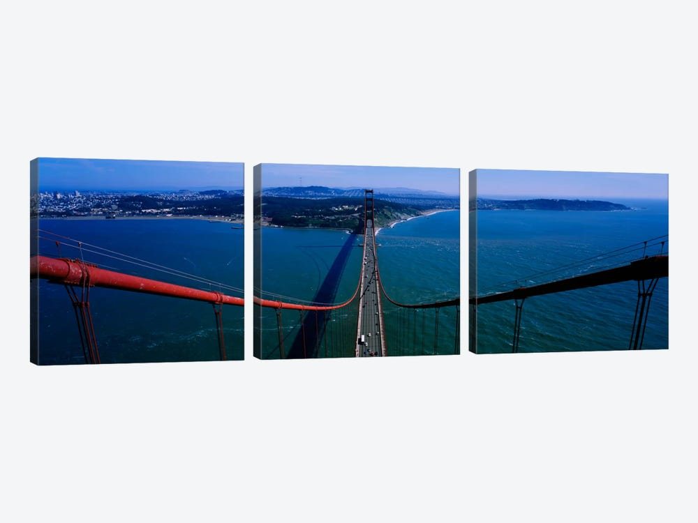 Aerial view of traffic on a bridge, Golden Gate Bridge, San Francisco, California, USA by Panoramic Images 3-piece Canvas Wall Art