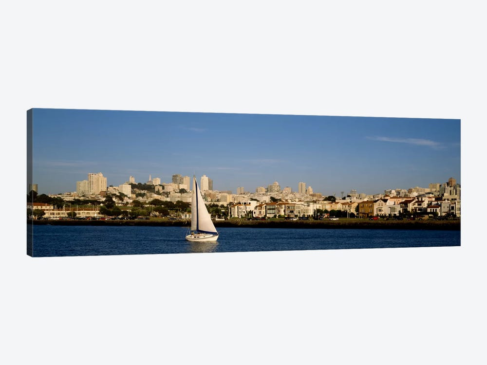 Sailboat in an ocean, Marina District, San Francisco, California, USA by Panoramic Images 1-piece Canvas Art Print