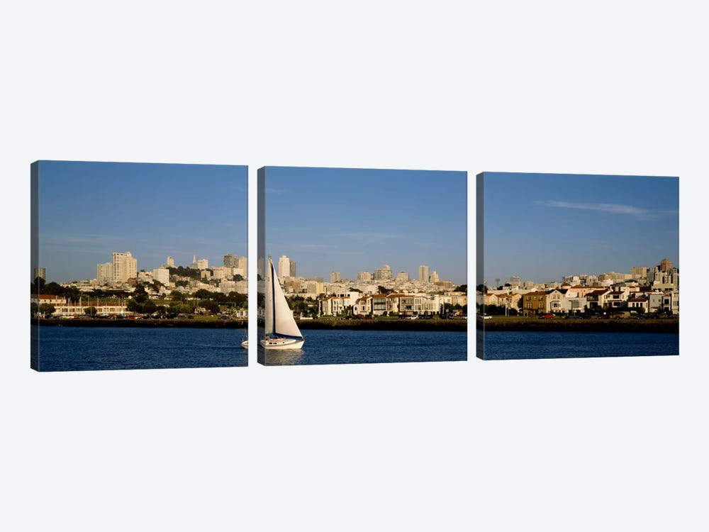 Sailboat in an ocean, Marina District, San Francisco, California, USA by Panoramic Images 3-piece Canvas Print