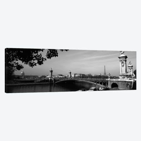 Pont Alexandre III And A Distant Eiffel Tower In B&W, Paris, Ile-de-France, France Canvas Print #PIM186} by Panoramic Images Canvas Wall Art