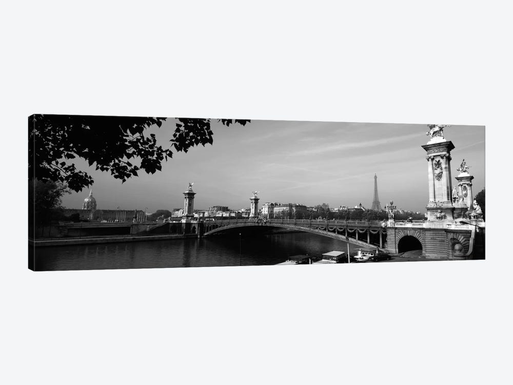 Pont Alexandre III And A Distant Eiffel Tower In B&W, Paris, Ile-de-France, France by Panoramic Images 1-piece Canvas Print