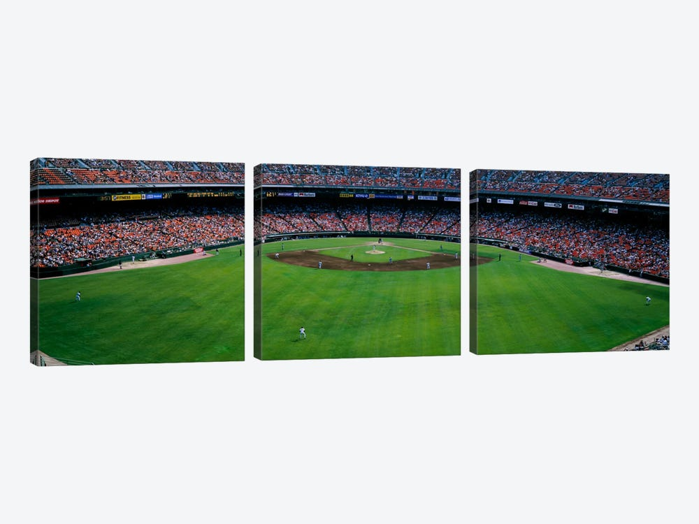 Baseball stadium, San Francisco, California, USA by Panoramic Images 3-piece Canvas Wall Art