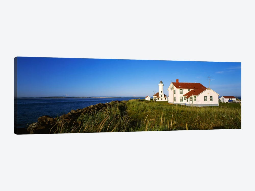 Lighthouse on a landscape, Ft. Worden Lighthouse, Port Townsend, Washington State, USA 1-piece Canvas Print