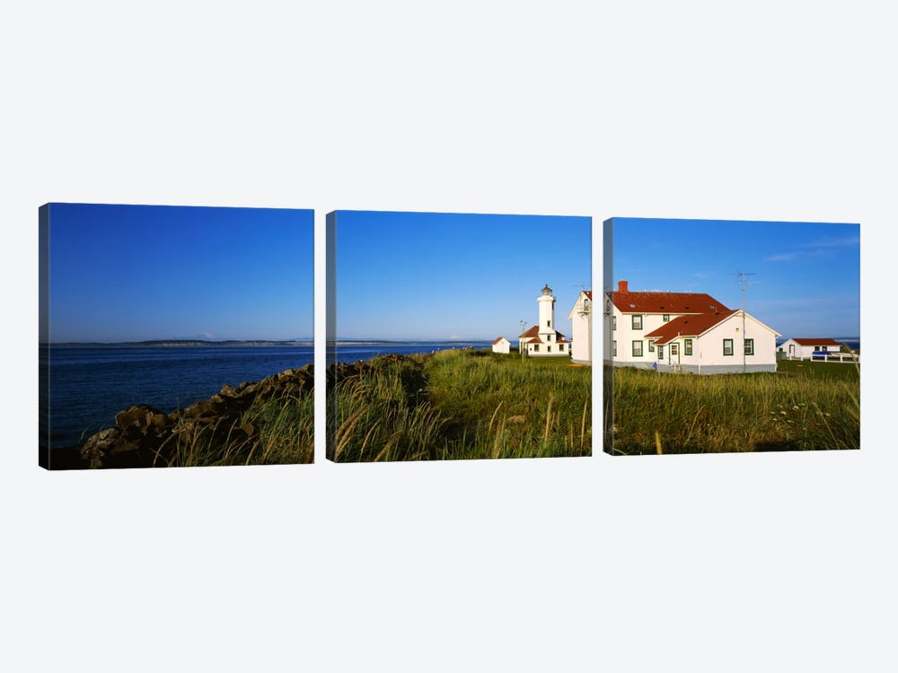 Lighthouse on a landscape, Ft. Worden Lighthouse, Port Townsend, Washington State, USA by Panoramic Images 3-piece Canvas Art Print