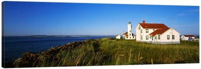 Lighthouse on a landscape, Ft. Worden Lighthouse, Port Townsend, Washington State, USA Canvas Art Print