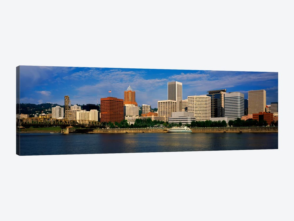 Skyscrapers at the waterfront, Portland, Multnomah County, Oregon, USA by Panoramic Images 1-piece Canvas Art