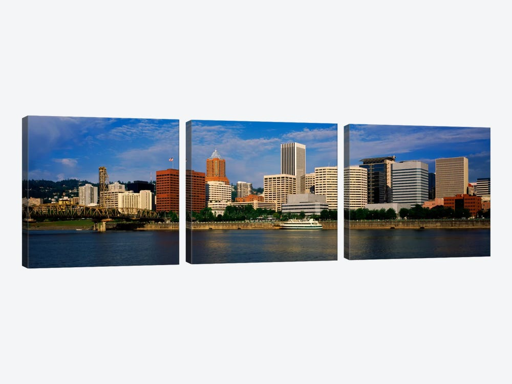 Skyscrapers at the waterfront, Portland, Multnomah County, Oregon, USA by Panoramic Images 3-piece Canvas Artwork