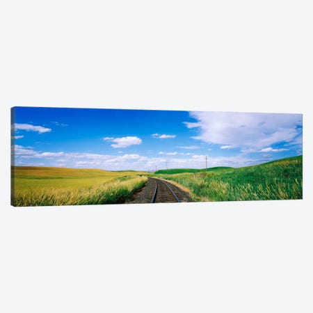 Railroad track passing through a field, Whitman County, Washington State, USA Canvas Print #PIM1873} by Panoramic Images Canvas Art