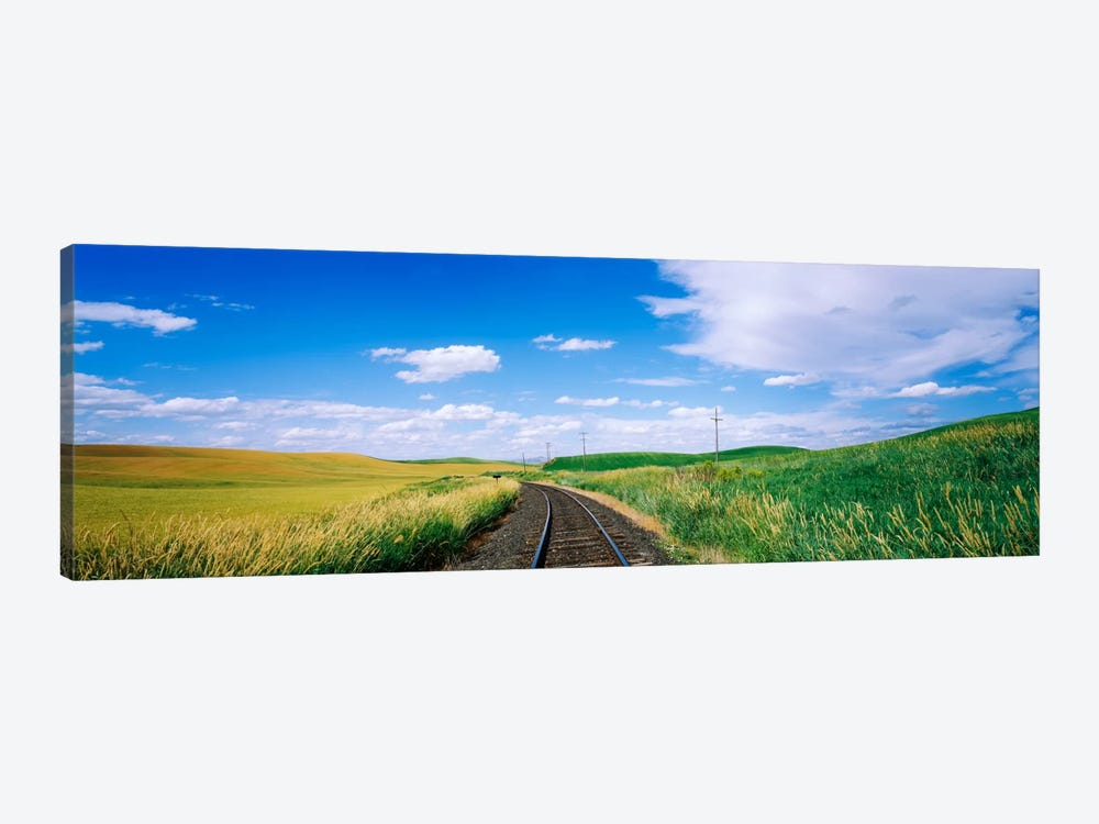Railroad track passing through a field, Whitman County, Washington State, USA by Panoramic Images 1-piece Canvas Art Print