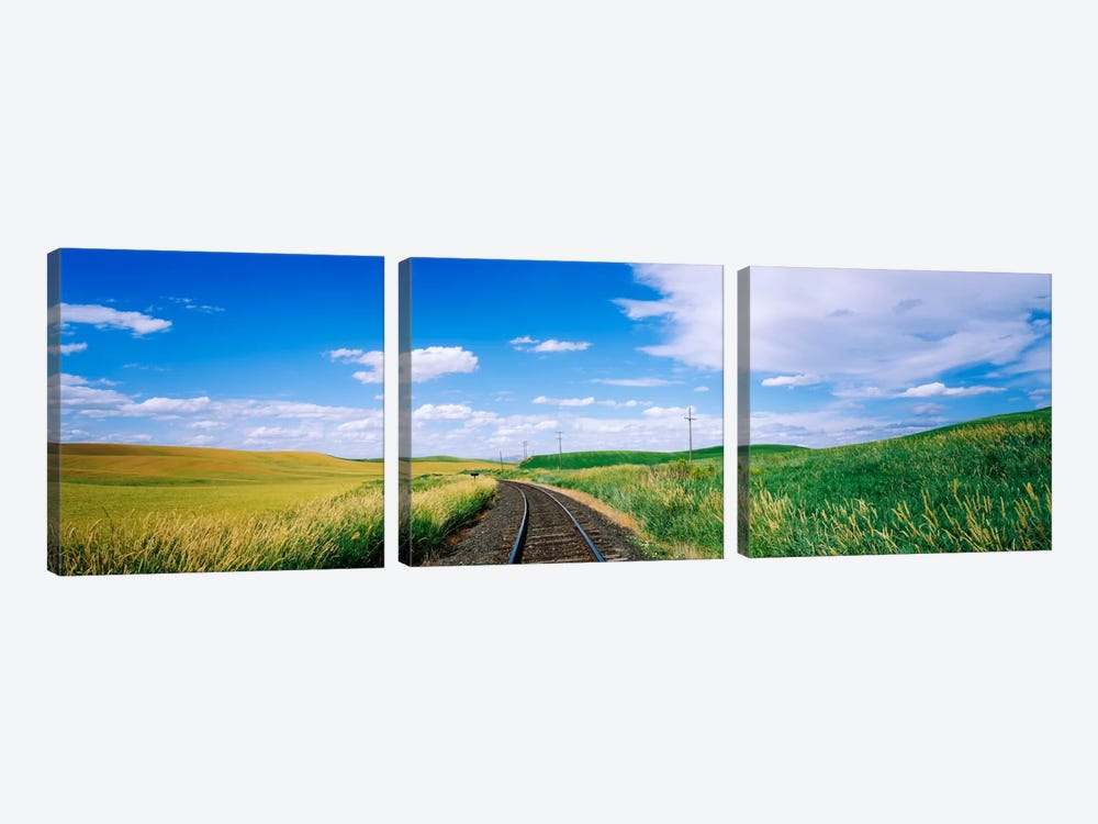 Railroad track passing through a field, Whitman County, Washington State, USA by Panoramic Images 3-piece Art Print