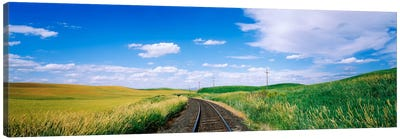 Railroad track passing through a field, Whitman County, Washington State, USA Canvas Art Print