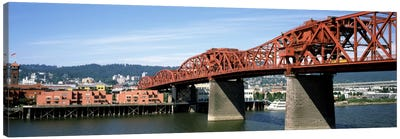 Bascule bridge across a river, Broadway Bridge, Willamette River, Portland, Multnomah County, Oregon, USA Canvas Art Print