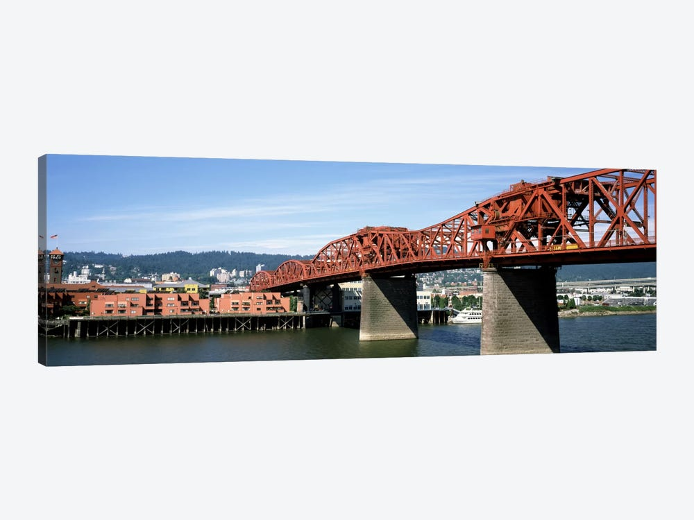 Bascule bridge across a river, Broadway Bridge, Willamette River, Portland, Multnomah County, Oregon, USA by Panoramic Images 1-piece Canvas Wall Art