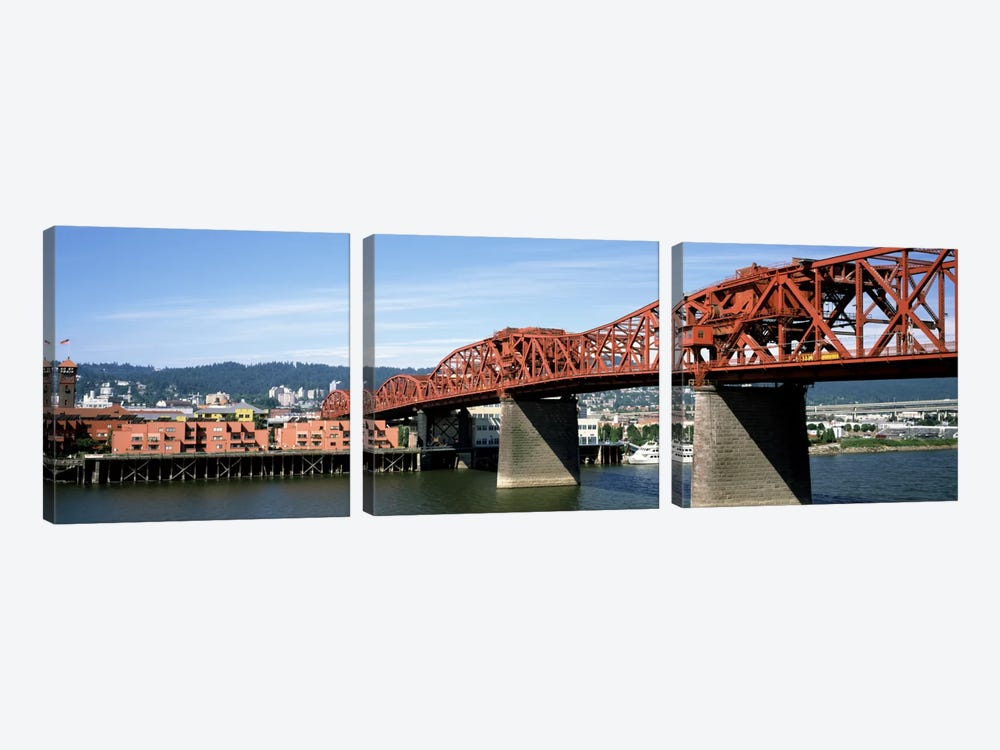 Bascule bridge across a river, Broadway Bridge, Willamette River, Portland, Multnomah County, Oregon, USA by Panoramic Images 3-piece Canvas Wall Art