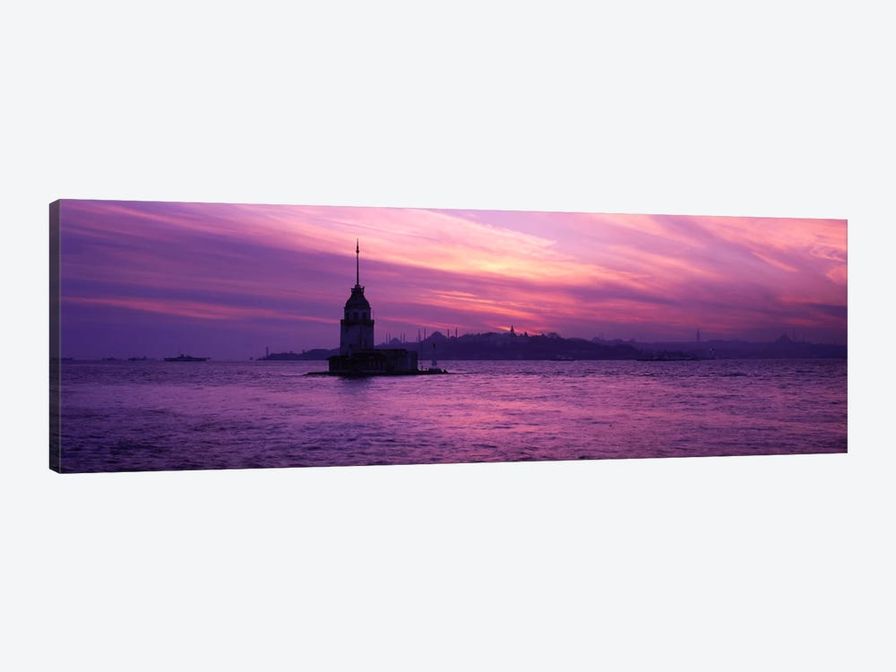 Lighthouse in the sea with mosque in the background, St. Sophia, Leander's Tower, Blue Mosque, Istanbul, Turkey by Panoramic Images 1-piece Art Print