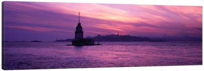 Lighthouse in the sea with mosque in the background, St. Sophia, Leander's Tower, Blue Mosque, Istanbul, Turkey Canvas Art Print