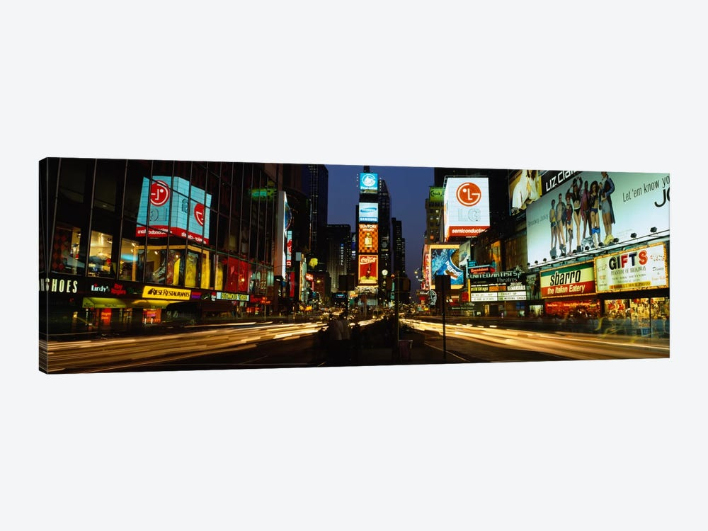 Shopping malls in a city, Times Square, Manhattan, New York City, New York State, USA by Panoramic Images 1-piece Canvas Print