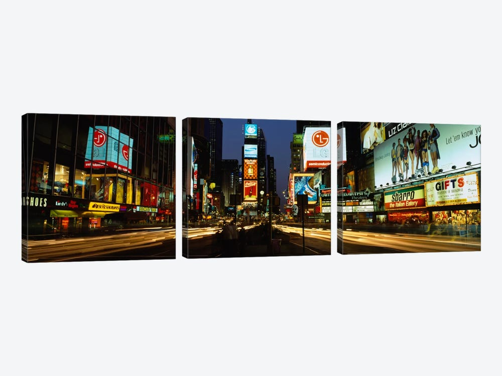 Shopping malls in a city, Times Square, Manhattan, New York City, New York State, USA by Panoramic Images 3-piece Art Print