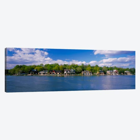 Boathouses near the river, Schuylkill River, Philadelphia, Pennsylvania, USA Canvas Print #PIM1882} by Panoramic Images Art Print
