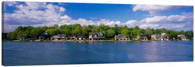 Boathouses near the river, Schuylkill River, Philadelphia, Pennsylvania, USA Canvas Art Print