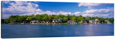 Boathouses near the river, Schuylkill River, Philadelphia, Pennsylvania, USA Canvas Print #PIM1882