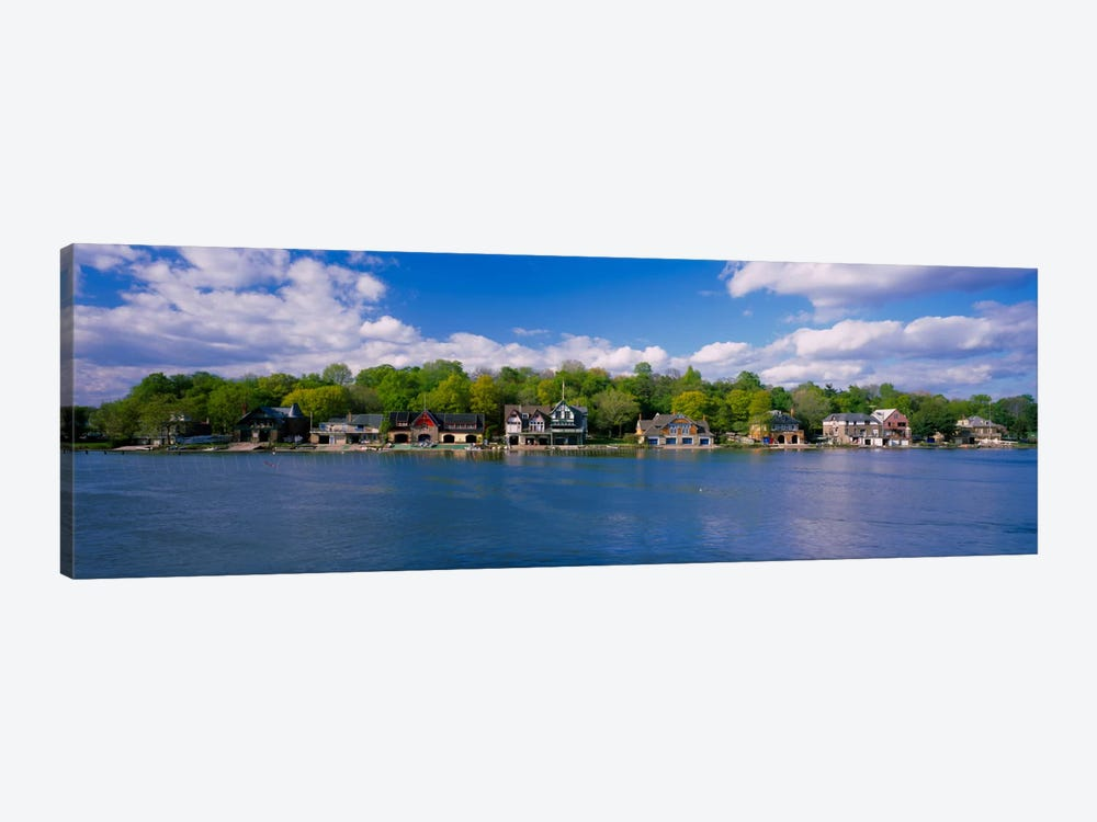 Boathouses near the river, Schuylkill River, Philadelphia, Pennsylvania, USA by Panoramic Images 1-piece Canvas Print