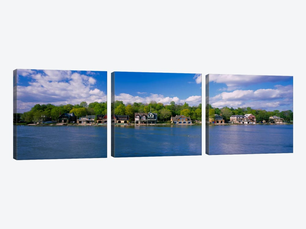 Boathouses near the river, Schuylkill River, Philadelphia, Pennsylvania, USA by Panoramic Images 3-piece Canvas Print