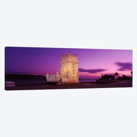 An Illuminated Belem Tower (Tower Of St. Vincent) At Night, Santa Maria de Belem, Lisbon, Portugal Canvas Print #PIM1884} by Panoramic Images Canvas Wall Art