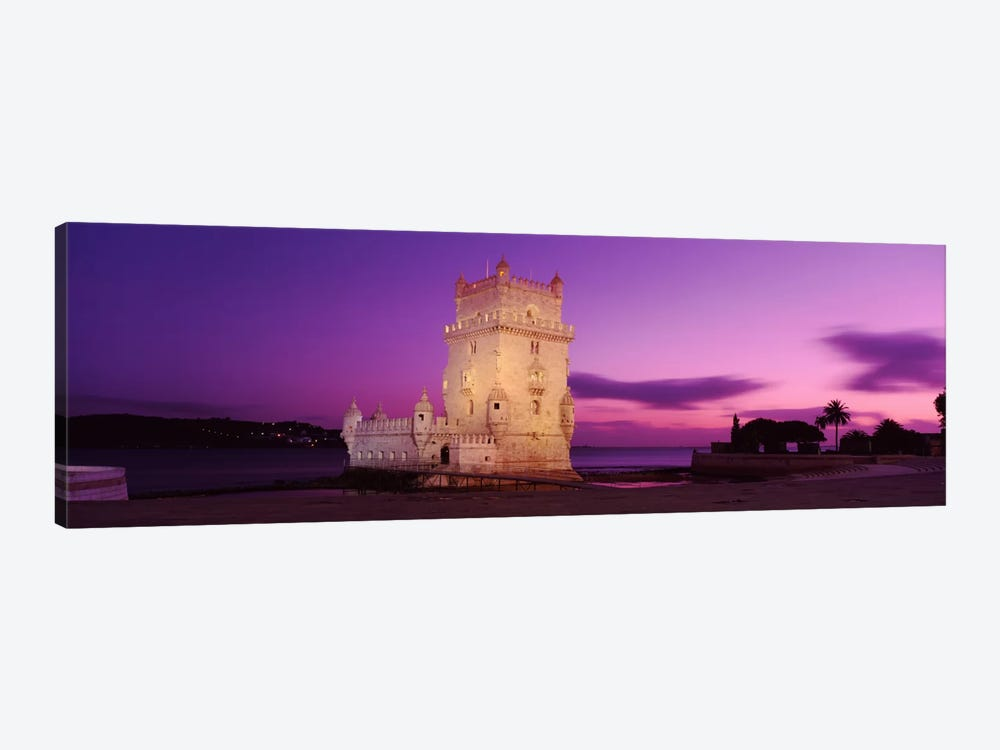 An Illuminated Belem Tower (Tower Of St. Vincent) At Night, Santa Maria de Belem, Lisbon, Portugal by Panoramic Images 1-piece Canvas Art Print